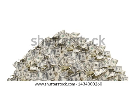 Pile with american one hundred dollar bills isolated on white background Royalty-Free Stock Photo #1434000260