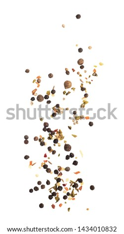 Falling pepper peas isolated on a white background