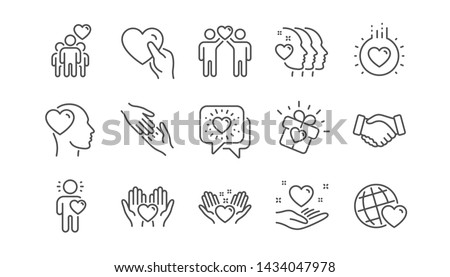 Friendship and love line icons. Interaction, Mutual understanding and assistance business. Trust handshake, social responsibility icons. Linear set. Vector #1434047978