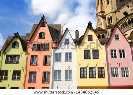 Famous houses of the Fish Market in old town Cologne, Germany. Sightseeing of Germany. #1434062345