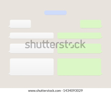 Template chat, message. Chatting icons white green and blue color with shadow. Message bubbles chat. Messenger concept. Vector illustration. EPS 10 #1434093029