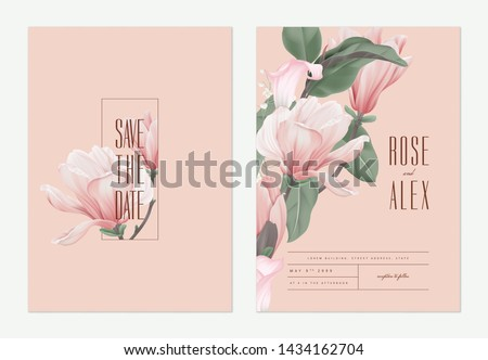 Floral wedding invitation card template design, pink Anise magnolia flowers and calla lily on light red, pastel vintage theme Royalty-Free Stock Photo #1434162704