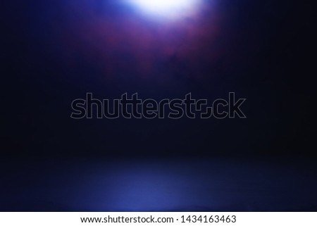 abstract dark concentrate floor scene with mist or fog, spotlight for display