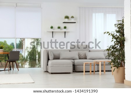 Living room with modern furniture and stylish decor. Ideas for interior Royalty-Free Stock Photo #1434191390