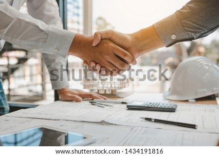 Two engineering man with construction worker greeting a foreman at renovating apartment. #1434191816