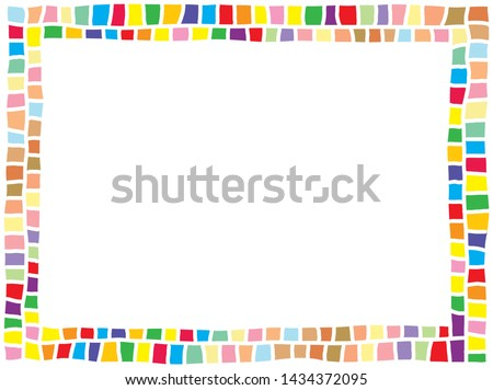 cute colorful horizontal border consists of various bright rectangle tiles Royalty-Free Stock Photo #1434372095