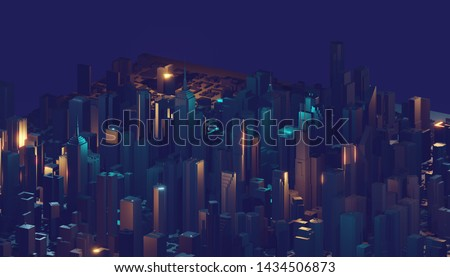 Abstract 3d city rendering with lines and digital elements. Digital skyscrapers. Technology concept. Perspective architecture. 3d rendering. #1434506873