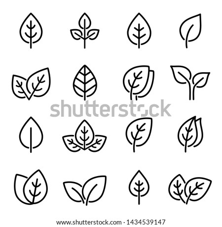 eco set of black line leaf icons on white background Royalty-Free Stock Photo #1434539147