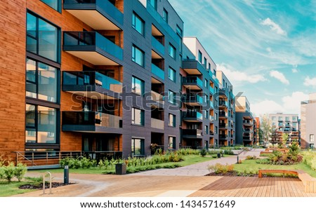 Europe modern complex of residential apartment buildings complex condo. And outdoor facilities. Mixed media. Royalty-Free Stock Photo #1434571649