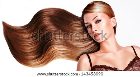Portrait of the beautiful woman with long brown hair. #143458090