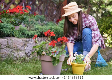 Caucasian female gardener in working clothes and with gardening gloves planting begonia while crouching. Backyard exterior. #1434656591