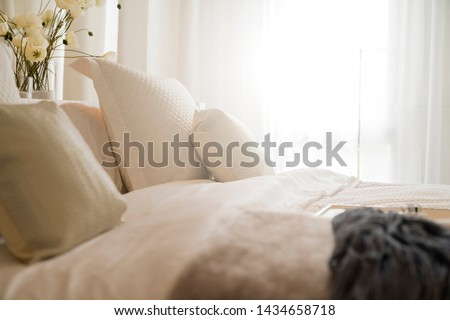 close up white beige soft pillows on bed and blanket bedroom interior design concept.bed maid luxury ideas concept #1434658718