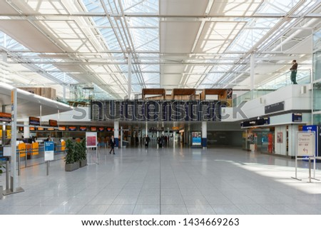 Munich, Germany – February 14, 2019: Lufthansa Terminal 2 of Munich airport (MUC) in Germany. #1434669263