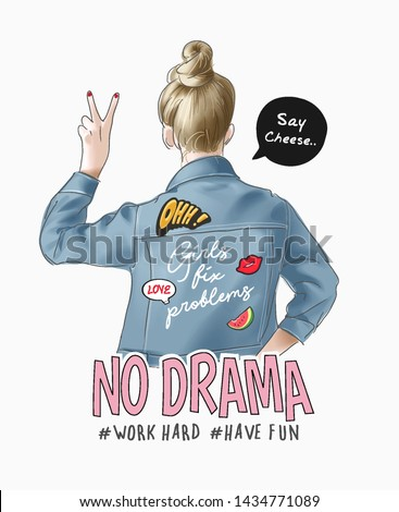 typography slogan with cartoon girl in denim jacket and cute icons illustration Royalty-Free Stock Photo #1434771089