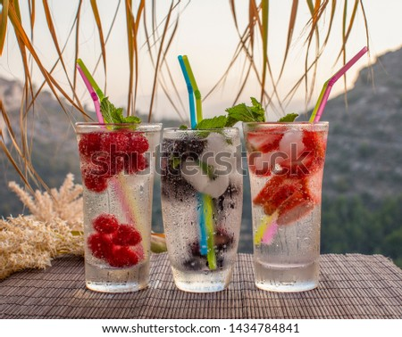 Drinks Refreshing. Bright summer refreshments made from juicy fruits. Three glasses of ripe fruit and berries with ice and mint on the background of the hill #1434784841