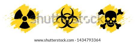 Danger grunge vector signs. Radiation sign, Biohazard sign, Toxic sign, Poison sign. #1434793364
