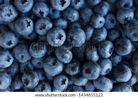 Fresh Blueberry Background. Texture blueberry berries close up. Sprinkle blueberries. Ripe blueberries with copy space for text. Fresh blueberries scattered. Bunch of blueberries. #1434855122