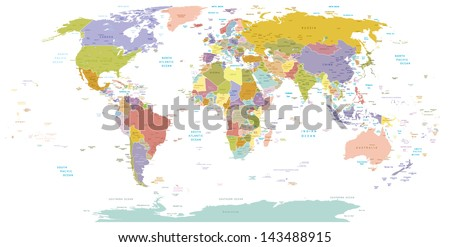 High Detail World map.All elements are separated in editable layers clearly labeled. Vector #143488915