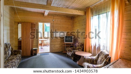 The interior of the hotel. The interior of the hotel. Beautiful, magnificent view, background, panorama of the hall, living room, large room hotel rooms, rooms of the villa, home. #1434903578