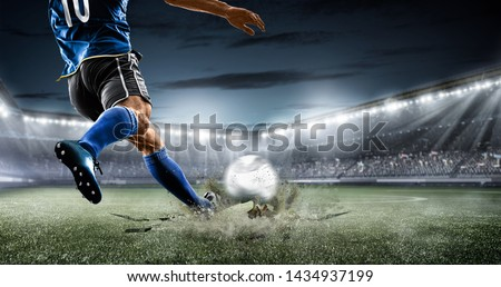 football soccer player kicking in action in blue team euro cup, Africa nations cup ,world cup ,France ,Brazil ,Italy  #1434937199