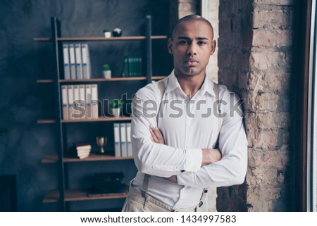 Portrait of his he nice attractive stylish trendy classy chic rich wealthy confident guy shark expert specialist executive top manager at industrial loft interior work place station #1434997583