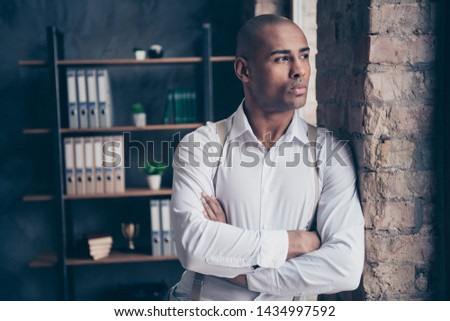 Close-up portrait of his he nice attractive stylish trendy classy confident guy shark expert specialist executive top manager financier at industrial loft interior work place station #1434997592