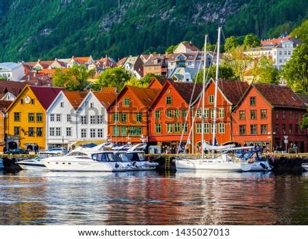 Bergen, Norway. View of historical buildings in Bryggen- Hanseatic wharf in Bergen, Norway. UNESCO World Heritage Site #1435027013