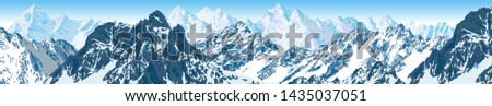 vector karakoram nepal himalayan panorama illustration #1435037051