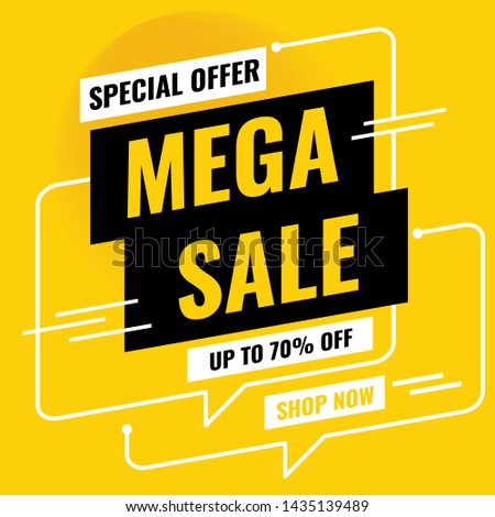 Sale Banner Design. Mega sale special offer, Up to 70% OFF, SHOP NOW. Vector illustration #1435139489