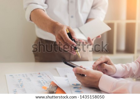 Business objects of team engineers office with construction engineer architect and worker looking building model(Meeting Team concept) #1435158050