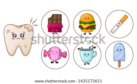 Sick kawaii tooth with caries and bloom and junk food - chocolate, coffee, sweets, burger, bad habits - smoking. The concept of dental care and hygiene, prevention of dental diseases. Flat style