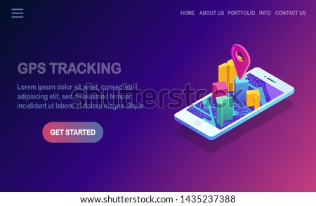 Isometric 3d smartphone with gps navigation app, tracking. Mobile phone with map application. Vector flat design #1435237388