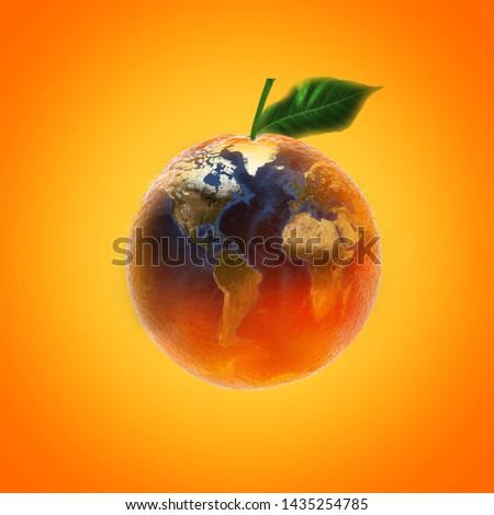 Fresh ripe orange fruit with world map image source from NASA #1435254785