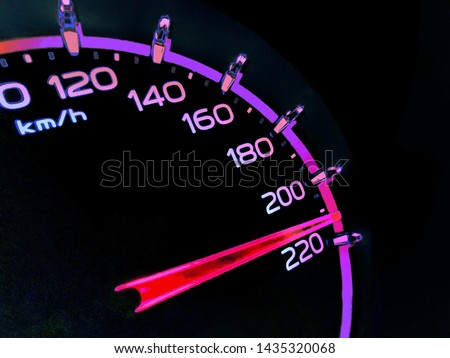 At a speed of 210 kilometers per hour of High lifters truck on car dashboard.Concept Driving fast is dangerous. Colorful on dangerous. #1435320068