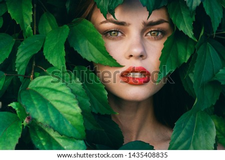 Bright makeup elegant woman on beautiful face green leaves                       #1435408835