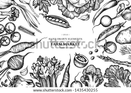 Floral design with black and white onion, garlic, pepper, broccoli, radish, green beans, potatoes, cherry tomatoes, peas, celery, beet, greenery, chinese cabbage, cabbage, carrot #1435430255