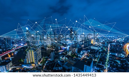 Smart city and internet of things, wireless communication network, abstract image visual,IoT Internet of Things,5G network digital hologram. #1435449413