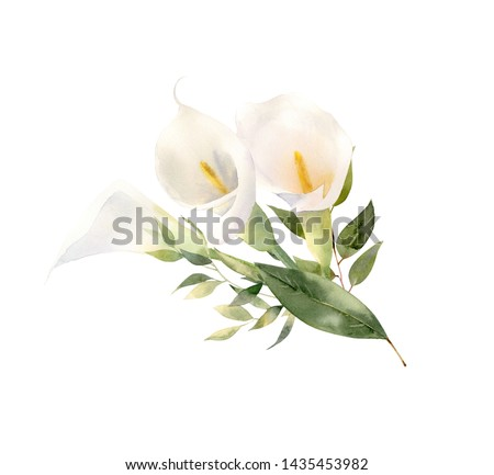 Beautiful handpainted watercolor floral arrangement. Bouquet of white flowers - calla lilies decorated with trending greenery foliage. Perfect clipart for wedding invitation, greeting card, branding