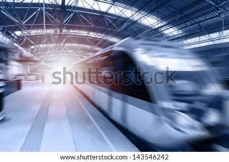 Fast train with motion blur. #143546242