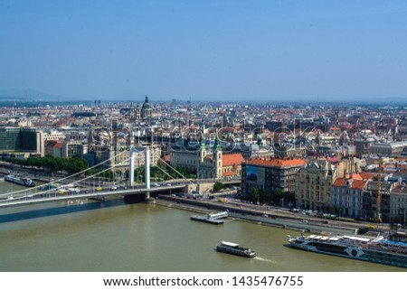 12.06.2019. Budapest, Hungary. Beautiful view of  historical part of the city, of old buildings and sights, river and coast, of transport. #1435476755