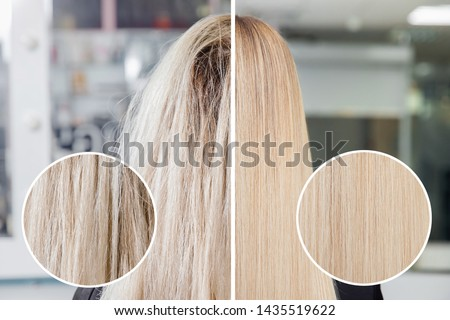 Sick, cut and healthy hair care keratin. Before and after treatment. #1435519622