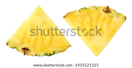 Pineapple slice top view. Pineapple isolated on white. Pineapples with clipping path. #1435521323