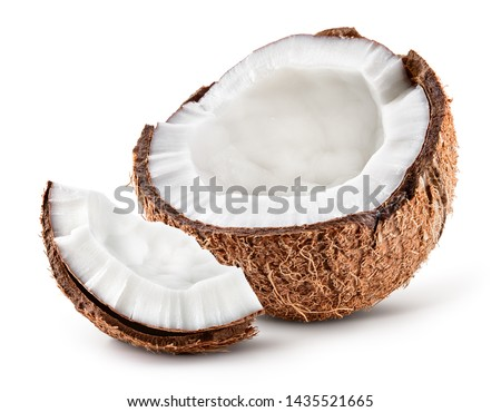 Coco. Coconut half and piece isolated. Cocos white. Full depth of field. #1435521665