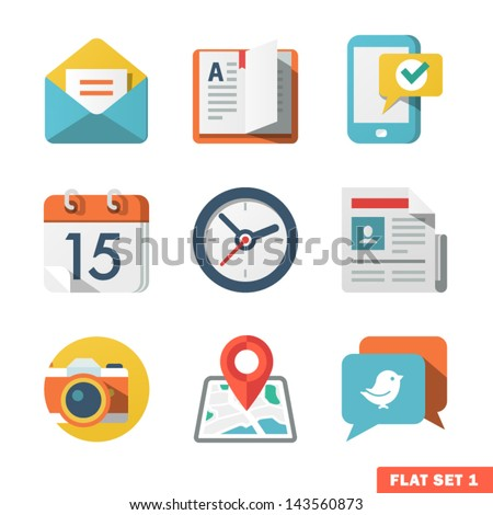 Basic Flat icon set for Web and Mobile Application. News, communications. Royalty-Free Stock Photo #143560873