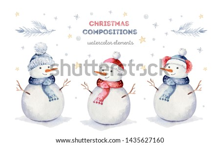 Watercolor merry christmas set of character snowmans illustration. Winter holidays cartoon isolated cute funny snowman design card. Snow holiday season xmas