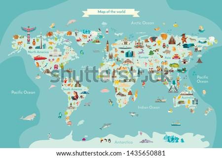 Landmarks world map vector cartoon illustration #1435650881