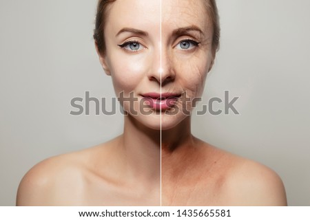 woman face portrait on plain grey background / design template #1435665581