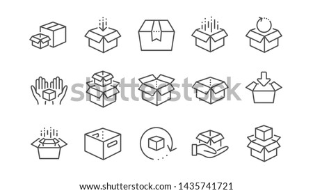 Box line icons. Package, delivery boxes, cargo box. Cargo distribution, export boxes, return parcel icons. Shipment of goods, open package. Linear set. Vector Royalty-Free Stock Photo #1435741721