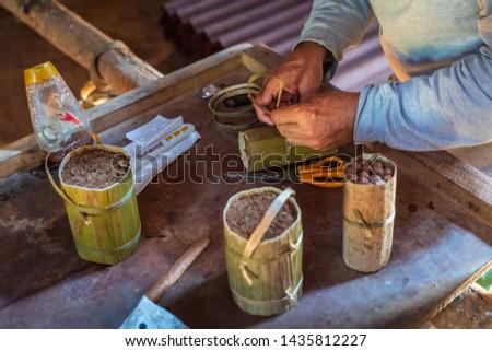 Vinales, Cuba - March 26 2019: Cigar preparation, Vinales, UNESCO, Pinar del Rio Province, Cuba, West Indies, Caribbean, Central America #1435812227