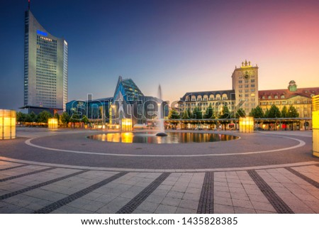 Leipzig, Germany. Cityscape image of Leipzig downtown during beautiful sunset. #1435828385